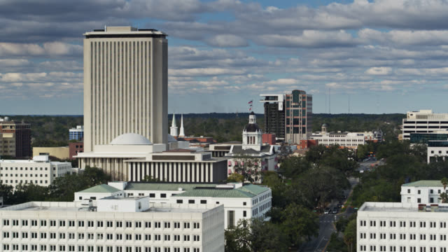 static aerial shot of state capitol complex and monroe st in tallahassee, florida - florida us state stock videos & royalty-free footage