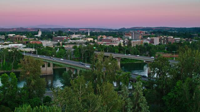 static aerial view of bridges in salem, oregon - oregon us state stock videos & royalty-free footage