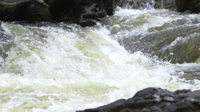 static, close-up shot of white water and rocky banks of the river spean, argyllshire, scotland. - river stock videos & royalty-free footage