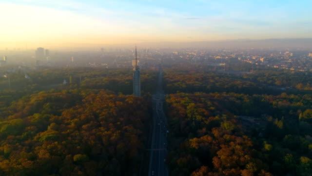 Vista aérea drone estática la foto de una ciudad con problemas de contaminación del aire en otoño