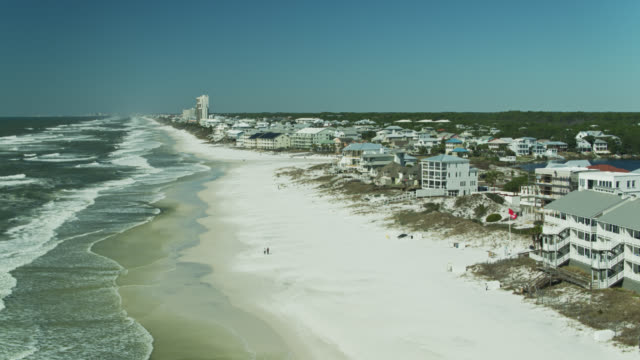 static drone shot of beachfront houses in seagrove beach, florida - gulf of mexico stock videos & royalty-free footage