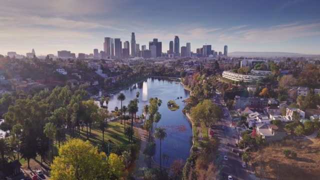 static drone shot of echo park, los angeles - glendale california stock videos & royalty-free footage