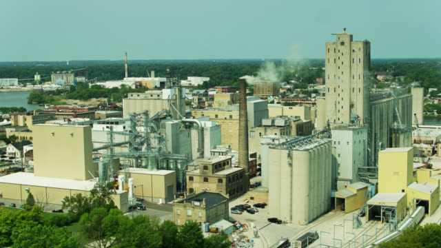 static drone shot of malting plant - cereal plant stock-videos und b-roll-filmmaterial
