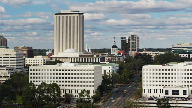 static drone shot of state capitol complex in tallahassee, florida - florida us state stock videos & royalty-free footage