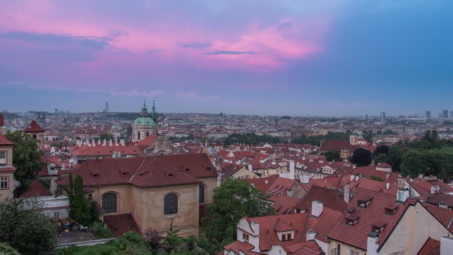 static establishing shot of colorful rooftops and architecture in old town prague czech republic at sunset - establishing shot stock videos & royalty-free footage