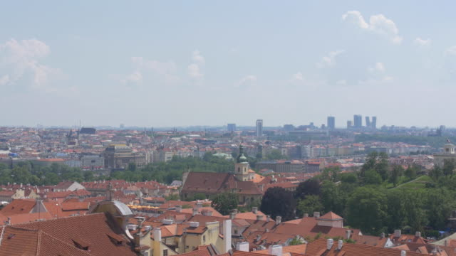 static establishing shot of colorful rooftops and architecture in old town prague czech republic - establishing shot stock videos & royalty-free footage