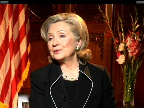 static, mcu, sot. in interview during a state visit to pakistan, secretary of state hillary clinton, expresses her excitement towards daughter... - (war or terrorism or election or government or illness or news event or speech or politics or politician or conflict or military or extreme weather or business or economy) and not usa stock videos & royalty-free footage
