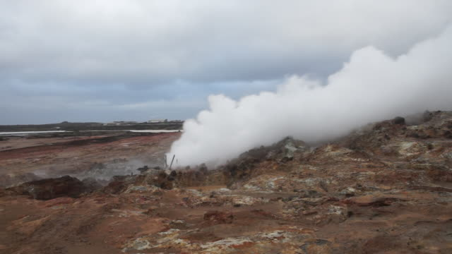 static medium shot of steam billowing from a fumarole in iceland. - surface level stock videos & royalty-free footage