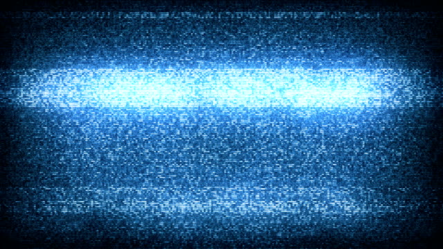 tv static noise with audio - blue (full hd) - turning on or off stock videos & royalty-free footage