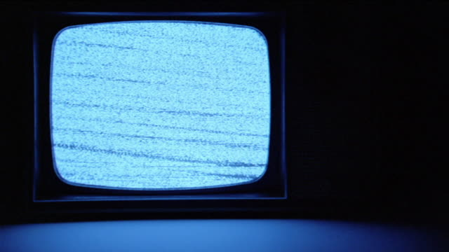 CU Static picture showing on 1960s black-and-white television set, then turning off / Los Angeles, CA, USA