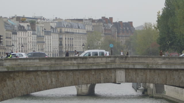 Static sequence showing the Petit Pont leading to Paris' Île de la Cité seen from another bridge, France.