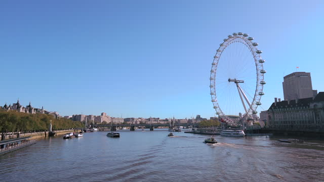 A boat on the River Thames moves toward the London Eye.