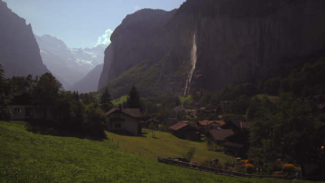 Static shot of a small village in Switzerland