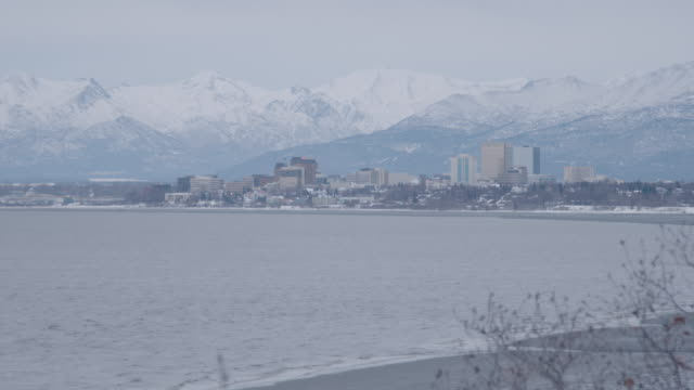 static shot of anchorage cityscape with the sea in the foreground - anchorage alaska stock videos & royalty-free footage