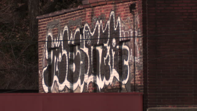 Static shot of black and white grafiti tagged on a grungy brick building in the bronx late in the day