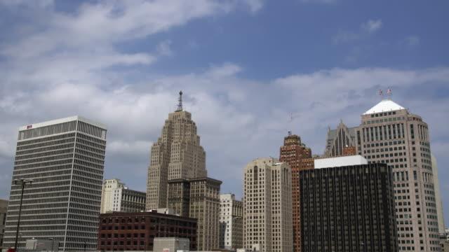 Static shot of Detroit skyline.