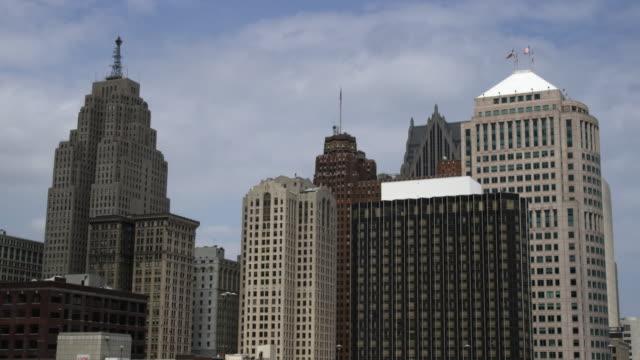 Static shot of Detroit skyscrapers.