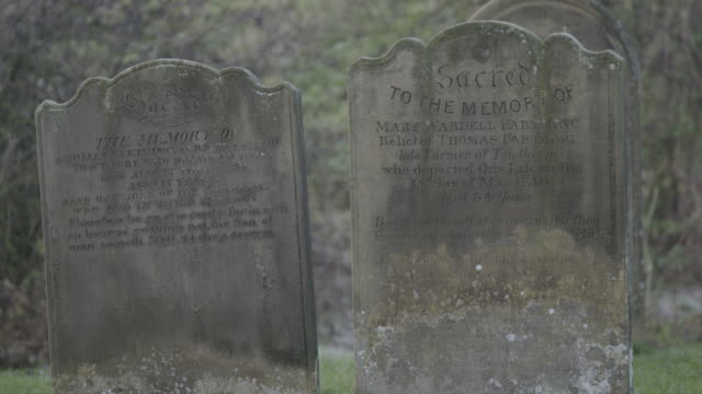 static shot of gravestones near st martins church in wharram percy - tomb stock videos & royalty-free footage