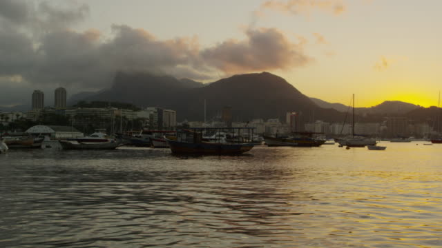 static shot of guanabara bay at rio at dusk. - 2013 stock videos & royalty-free footage