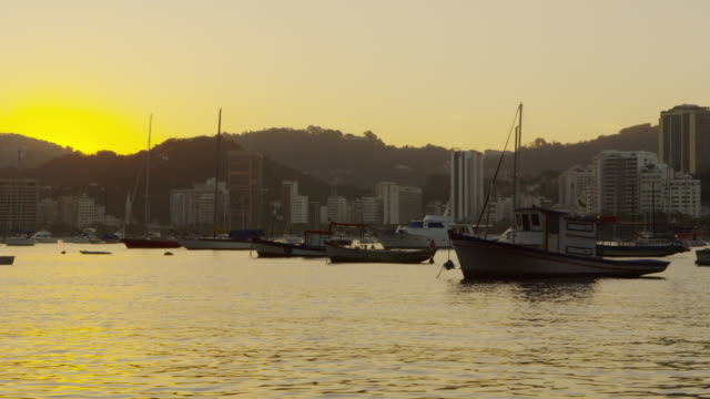 static shot of guanabara bay in rio at dusk. - 2013 stock videos & royalty-free footage