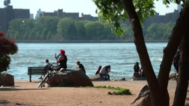 static shot of people in a riverside park with a ferry in the background - imbarcazione per passeggeri video stock e b–roll