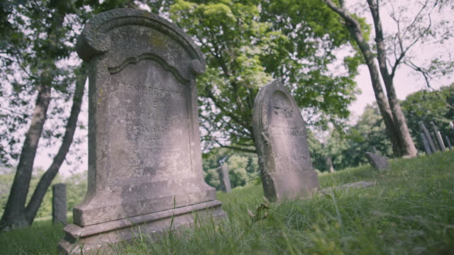 static shot of the headstones of john proctor and perley proctor - execution stock videos & royalty-free footage