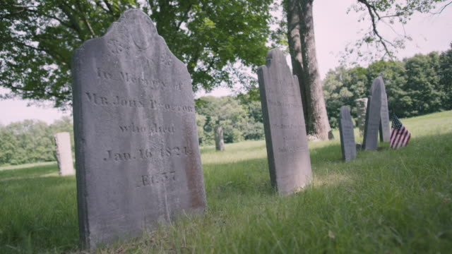 static shot of the headstones of john proctor descendants - execution stock videos & royalty-free footage