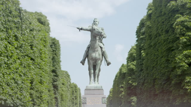 Static shot of the 'Le Liberateur Simon Bolivar' statue in Paris, France