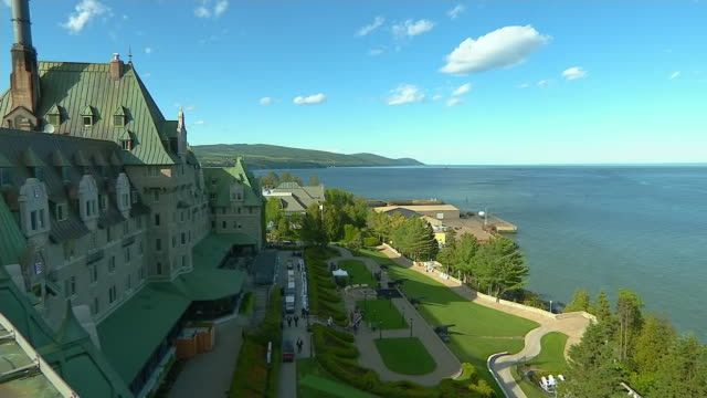 static shot of the manoir richelieu hotel in la malbaie, quebec, canada. the 44th g7 summit was held at the manoir richelieu hotel in 2018. - music or celebrities or fashion or film industry or film premiere or youth culture or novelty item or vacations stock videos & royalty-free footage