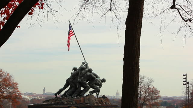 a static shot of the marine corps war memorial. - male likeness stock videos & royalty-free footage