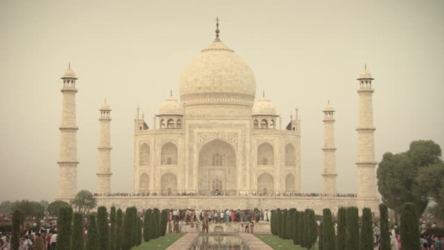 Static shot of the Taj Mahal on a muggy day, India.