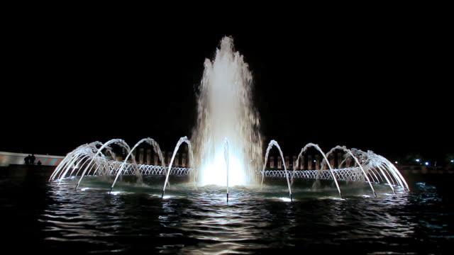 Static shot of the World War II Memorial fountain in Washington DC at night