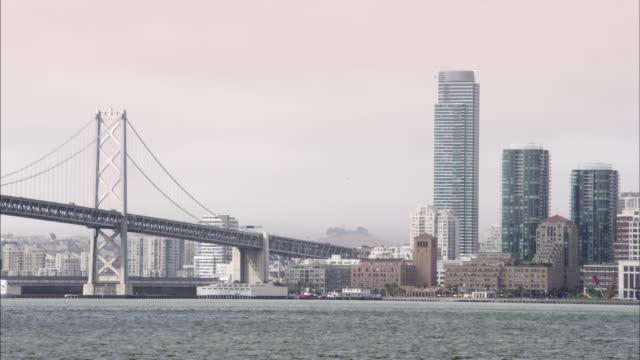 Static shot where the Oakland Bay Bridge reaches San Francisco.
