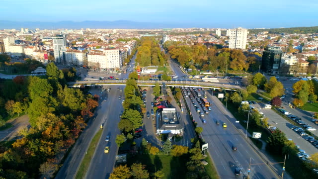 static slow motion drone shot of city traffic - bulgaria stock videos & royalty-free footage