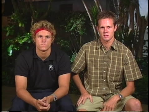 static, sot. during a remote interview from lihue, hawaii, tim and noah hamilton - the brothers of teen surfer bethany hamilton -describe how their... - kauai stock videos & royalty-free footage