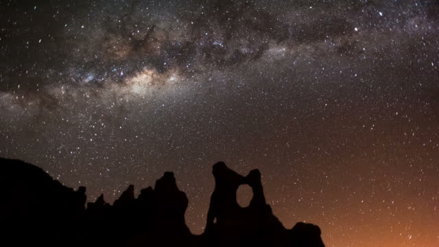 Static timelapse astrolapse at night of the Milky Way and the moon rising over an eroded landscape, in the Southern Hemisphere