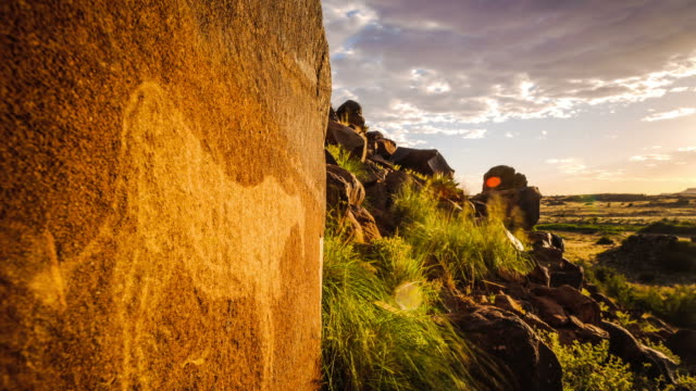Static timelapse with a textured rock and a bushmen engraving on a hill with green grass in the foreground and the sun setting in the background