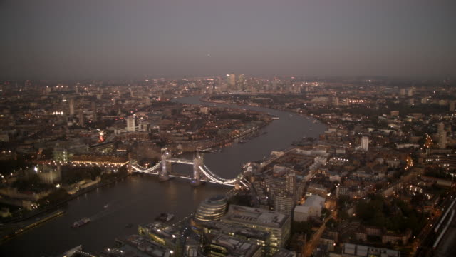 Static Wide Shot from above on East London and Tower Bridge