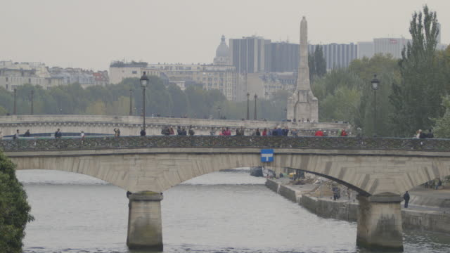 Static wide shot showing the Pont des Arts and Pont Neuf leading to the Île de la Cité, Paris, 2013.