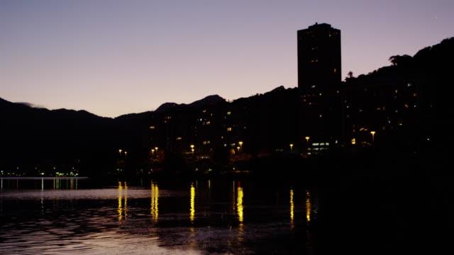 static-shot of downtown rio de janeiro at dusk - ウォーターフロント点の映像素材/bロール