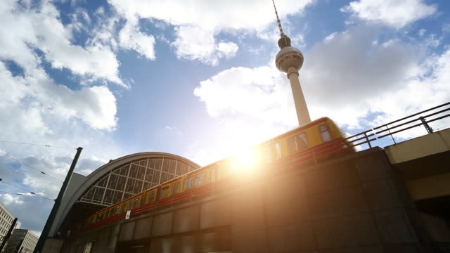 station berlin alexanderplatz with tv tower - alexanderplatz stock videos & royalty-free footage