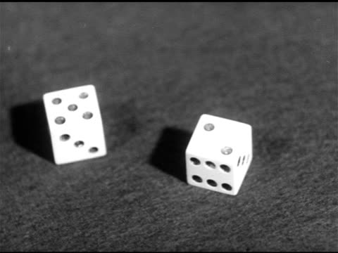 stationary dice on table showing five two 'lucky' seven - dice stock videos & royalty-free footage