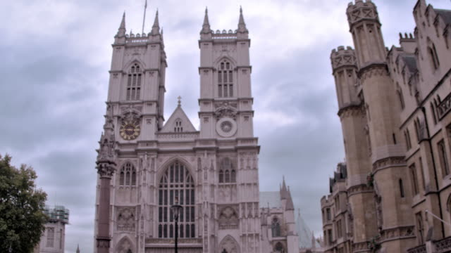stationary view of westminster abbey church in london, england. - abbey stock videos & royalty-free footage