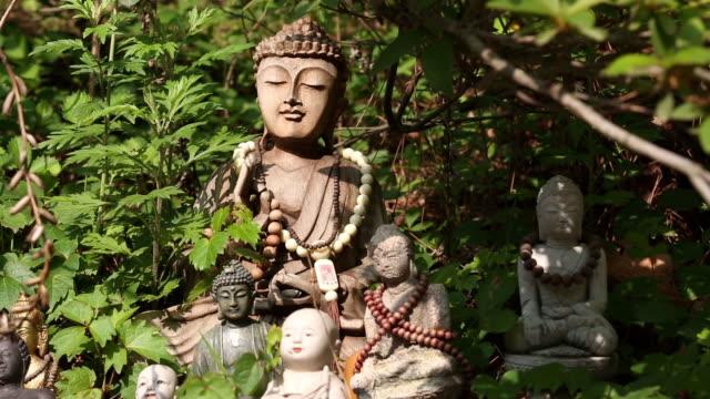 vídeos de stock e filmes b-roll de statuary of the buddha at gilsangsa temple(most famous temple at seoul) in seoul city - figura masculina