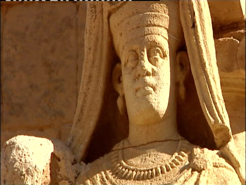 A statue adorns the ancient ruins in Hatra, Iraq.