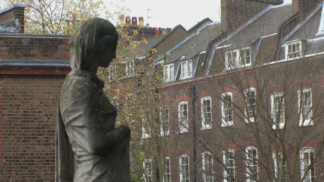 ms statue art facing elegant mansions in hampstead / london, uk.  - elegance stock videos & royalty-free footage