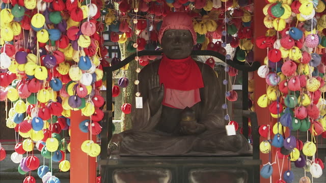 ms statue at buddhist shrine, kyoto, japan - luck stock videos & royalty-free footage