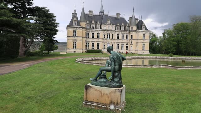 statue decorates the surroundings of chateau de boursault in the champagne wine region on may 15, 2021 in boursault, france. located about 150... - reportage stock videos & royalty-free footage