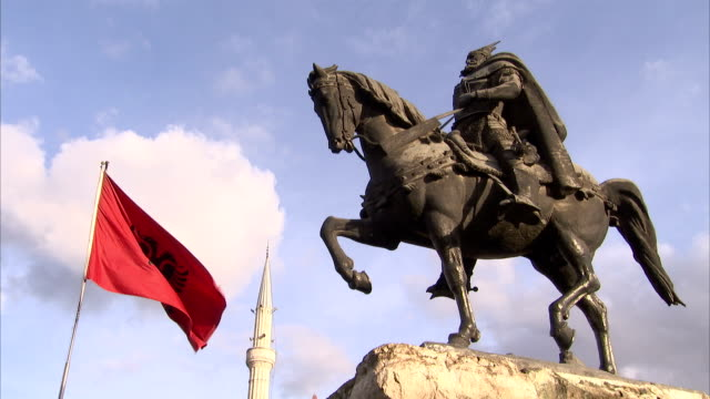 A statue depicts George Skanderbeg on a horse. Available in HD.