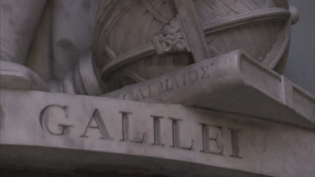 A statue in Florence, Italy has the name Galilei carved into its pedestal.